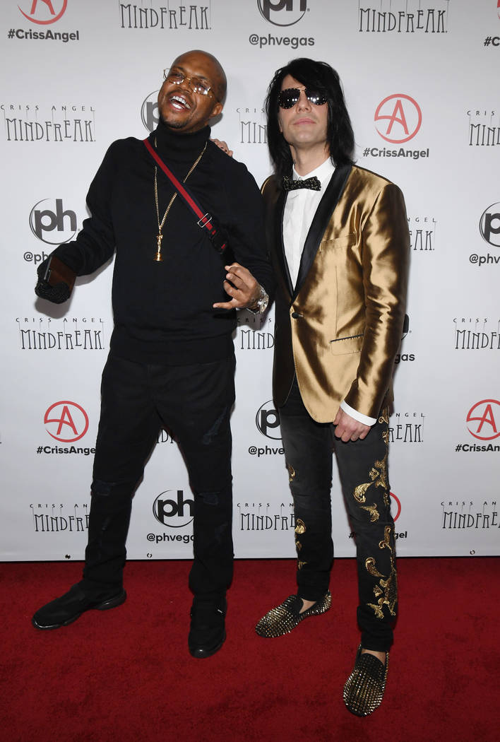 "DJ Paul of rap group Three 6 Mafia and illusionist Criss Angel attend the grand opening of ""Criss Angel MINDFREAK"" at Planet Hollywood Resort & Casino on January 19, 2019 in Las Vegas. (Photo by ..."