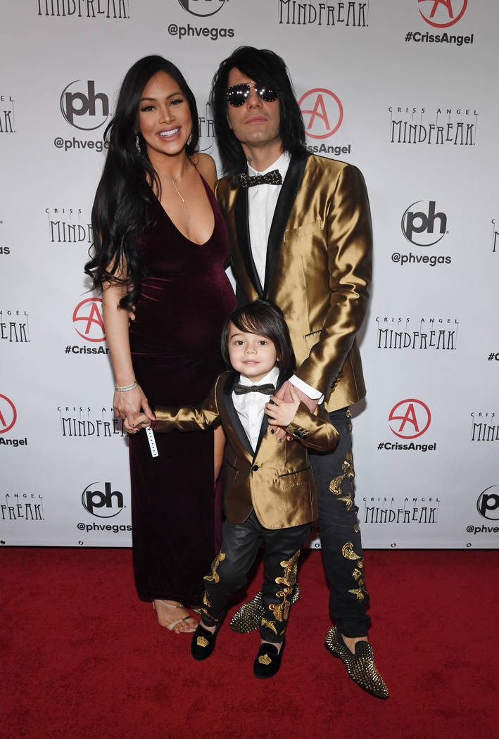 "(L-R) Shaunyl Benson, Johnny Crisstopher Sarantakos and illusionist Criss Angel attend the grand opening of ""Criss Angel MINDFREAK"" at Planet Hollywood Resort & Casino on January 19, 2019 in Las V ..."