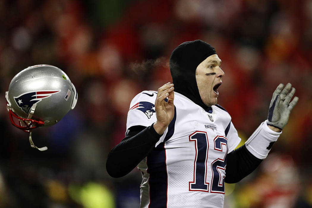 New England Patriots quarterback Tom Brady celebrates after defeating the Kansas City Chiefs in the AFC Championship NFL football game, Sunday, Jan. 20, 2019, in Kansas City, Mo. (AP Photo/Jeff Ro ...