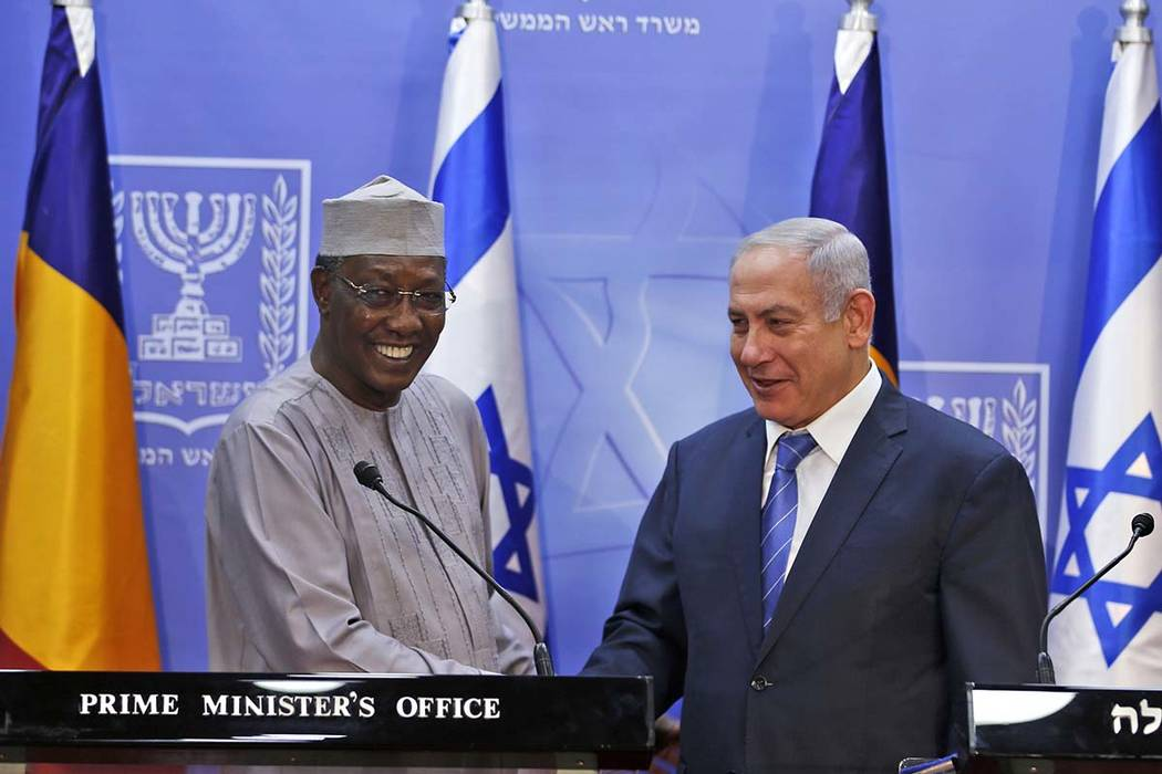 Israeli Prime Minister Benjamin Netanyahu, right, and president of Chad, Idriss Deby, give a joint press conference, in Jerusalem, Sunday, Nov. 25, 2018. Jihadists attacked U.N. peacekeepers in re ...