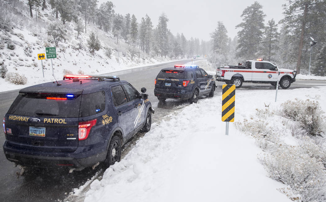 Nevada State Troopers are seen at Mount Charleston on Tuesday, Jan. 15, 2019, in Las Vegas. Benjamin Hager Las Vegas Review-Journal
