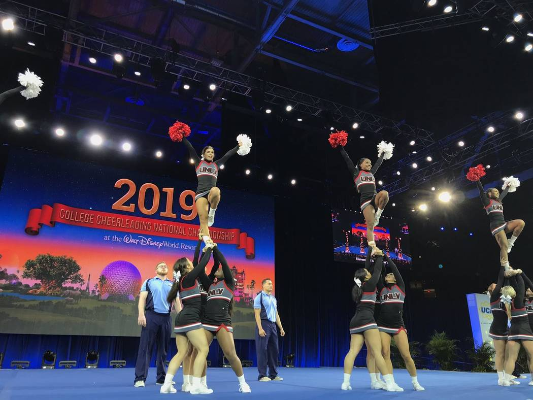 UNLV cheerleaders compete during the College Cheerleading and Dance Team National Championships in Orlando, Florida. (courtesy: Charlette Estes)