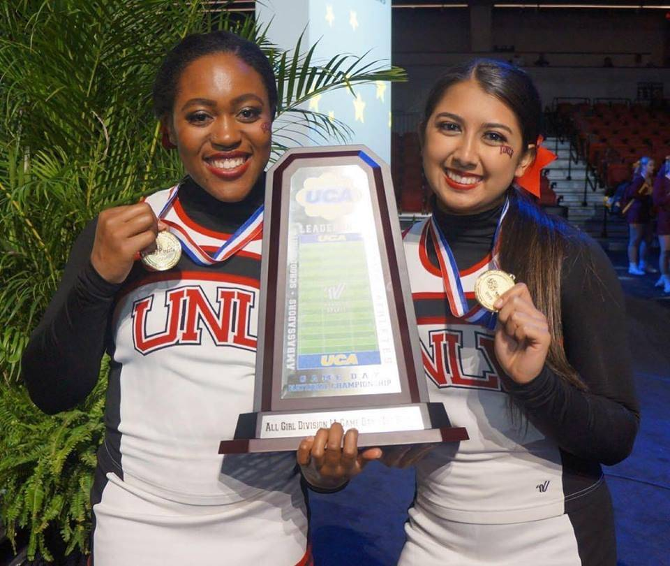 UNLV cheerleaders Micah Jordan, left, and Brittany Dickson-Schneider pose with national championship medals after taking first place in the All Girls Division IA Cheer division at the College Che ...