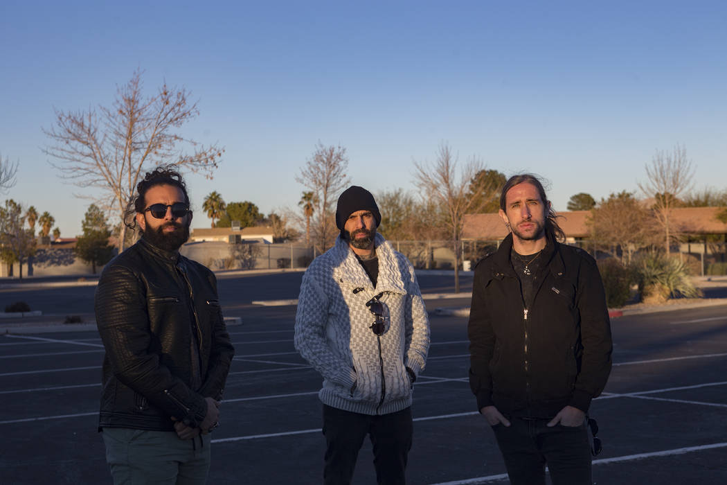Ryan Patrick, from left, his brother Adrian Patrick, and fellow bandmate Brian Medeiros of the band Otherwise outside a church on the east side of Las Vegas, Tuesday, Jan. 22, 2019. The group wro ...