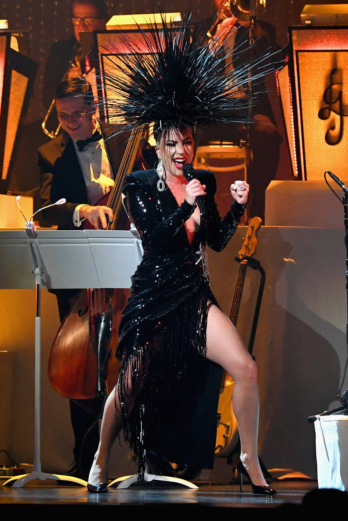 """Lady Gaga performs during her """"Jazz & Piano"""" residency at Park Theater at Park MGM on Jan.20, 2019, in Las Vegas. (Kevin Mazur/Getty Images for Park MGM Las Vegas)"""