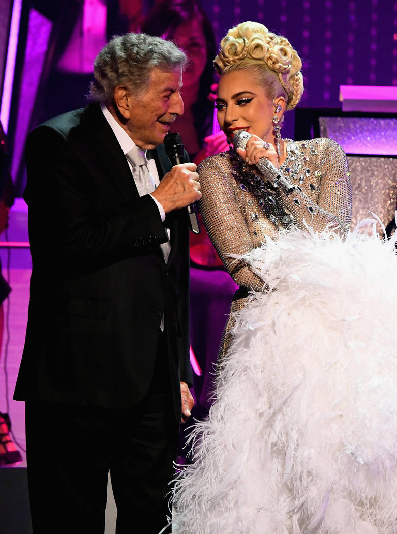 """Lady Gaga performs with Tony Bennett during her """"Jazz & Piano"""" residency at Park Theater at Park MGM on Jan. 20, 2019. in Las Vegas. (Kevin Mazur/Getty Images for Park MGM Las Vegas)"""