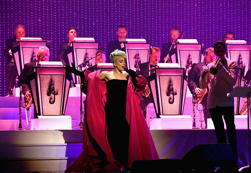 """Lady Gaga performs during her """"Jazz & Piano"""" residency at Park Theater at Park MGM on Jan. 20, 2019, in Las Vegas. (Kevin Mazur/Getty Images for Park MGM Las Vegas)"""