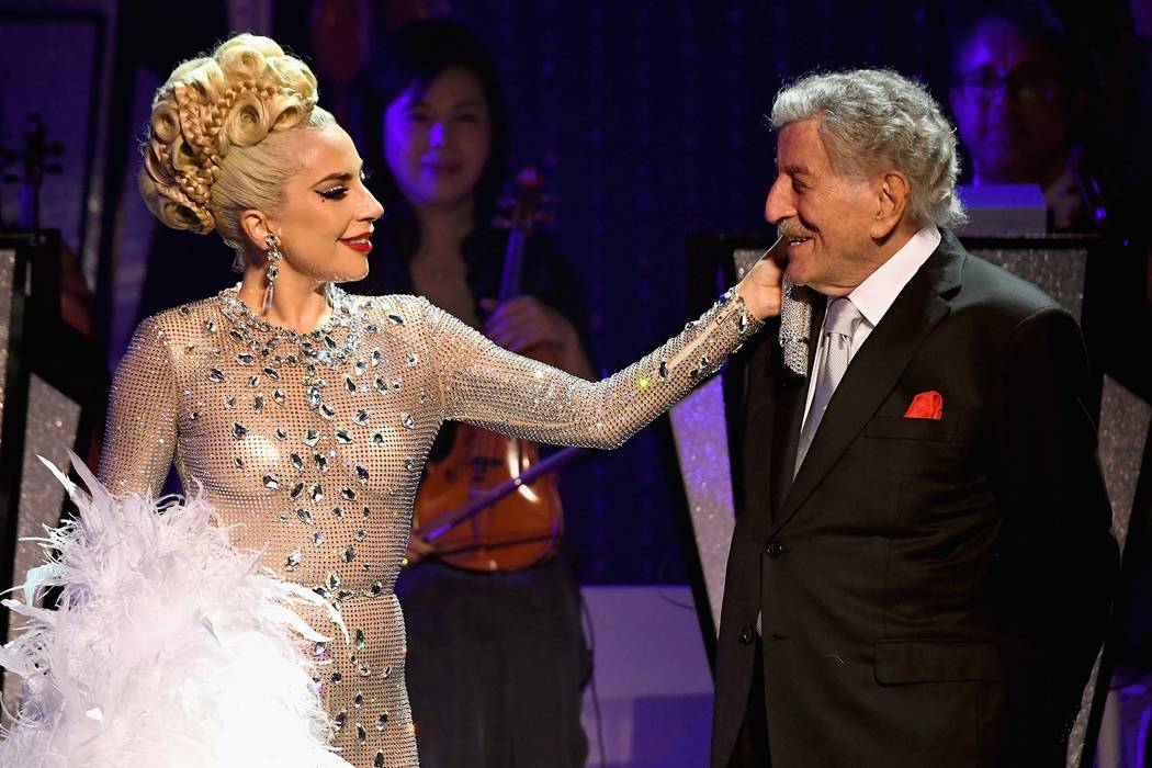 """Lady Gaga performs with Tony Bennett during her """"Jazz & Piano"""" residency at Park Theater at Park MGM on Jan. 20, 2019, in Las Vegas. (Kevin Mazur/Getty Images for Park MGM Las Vegas)"""