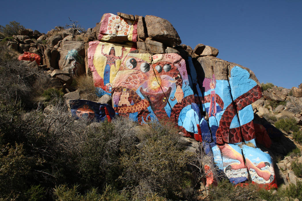 Artist Roy Purcell's murals are located in a canyon at the base of the Cerbat Mountains near Chloride, Arizona. (Deborah Wall/Las Vegas Review-Journal)