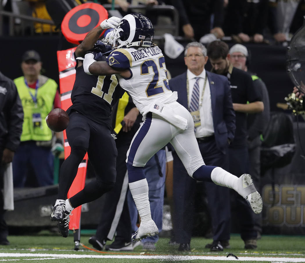 Los Angeles Rams defensive back Nickell Robey-Coleman (23) defends against New Orleans Saints wide receiver Tommylee Lewis (11) during the second half the NFL football NFC championship game Sunday ...