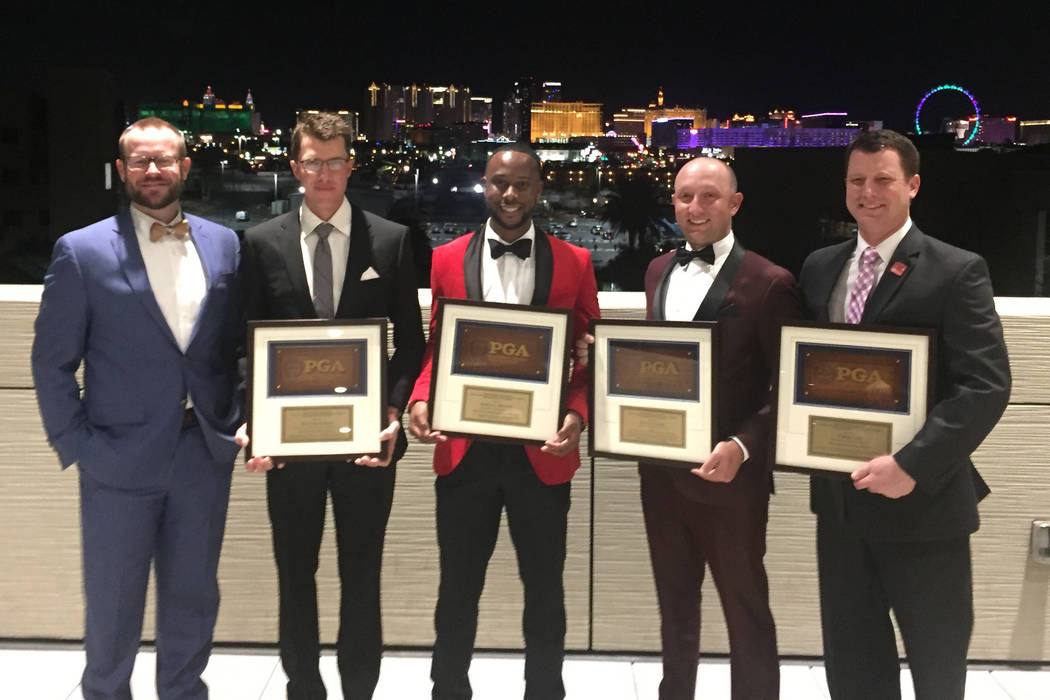 UNLV Professional Golf Management are making a positive difference in the Las Vegas golf industry including Landon Nelson, Matt Henderson, Kendall Murphy, Zach Fahmie and Dr. Chris Cain. Photo by ...
