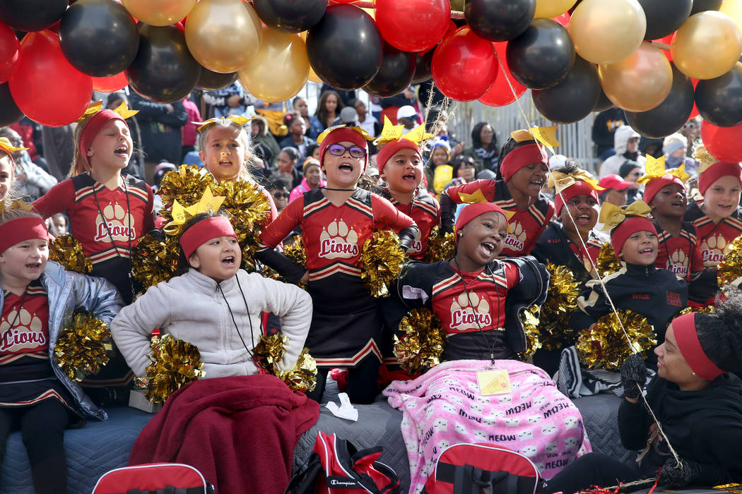 "Members of the Somerset Academy Lossee float in the 37th Annual Dr. Martin Luther King, Jr. Parade, themed ""Living the Dream: One People, One Nation, One Dream,"" in downtown Las Vegas Mo ..."