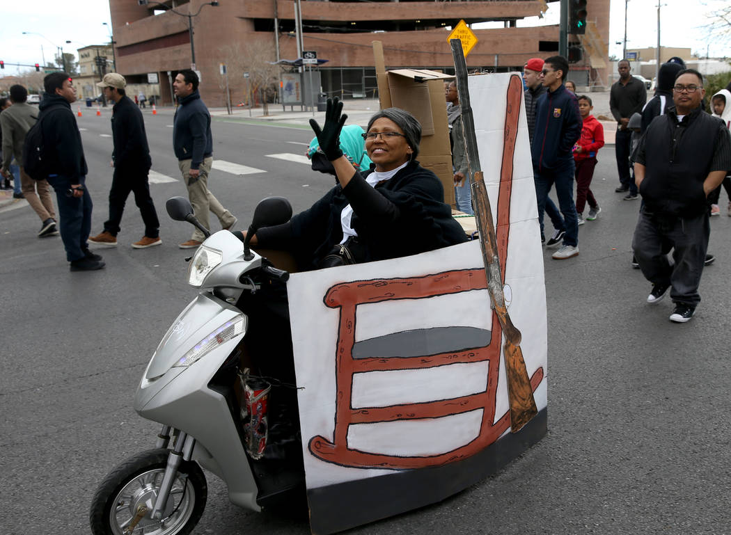 "Cheryl Montgomery, 59, of Las Vegas as Harriet Tubman in the 37th Annual Dr. Martin Luther King, Jr. Parade, themed ""Living the Dream: One People, One Nation, One Dream,"" in downtown Las ..."
