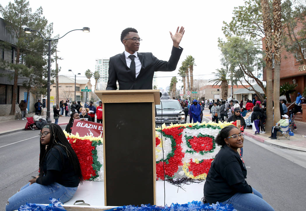 "Za'Korey Christian, 16, with the Southeast Career Technical Academy Black Student Union float in the 37th Annual Dr. Martin Luther King, Jr. Parade, themed ""Living the Dream: One People, One ..."