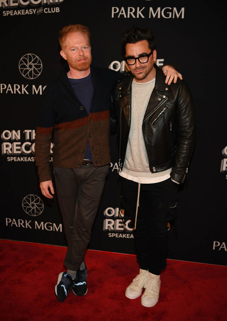 Actor Jesse Tyler Ferguson and actor/writer/producer Dan Levy arrive at the grand opening celebration of On The Record at Park MGM on January 19, 2019 in Las Vegas. (Photo by Denise Truscello/Get ...