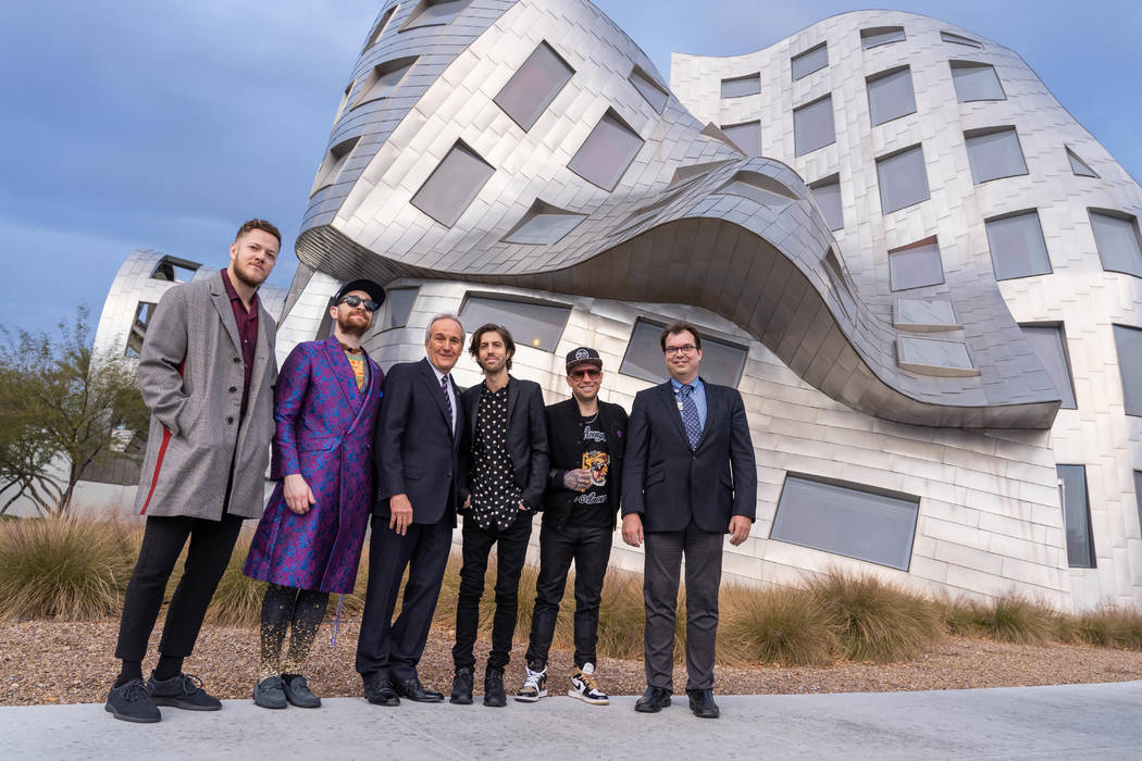 Dan Reynolds, Daniel Platzman, Larry Ruvo, Wayne Sermon and Ben McKee are shown with Dr. Zoltan Mari at the Cleveland Clinic Lou Ruvo Center for Brain Health on Thursday, Jan. 17, 2019. (Joseph Do ...