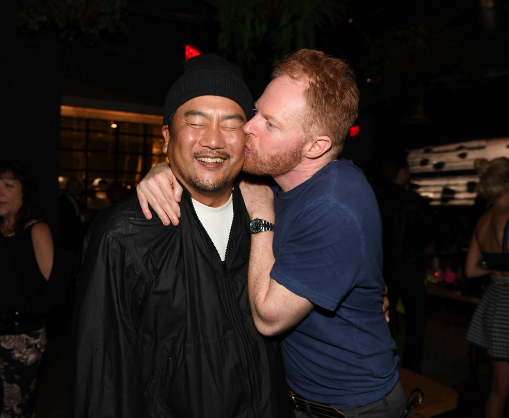 Chef Roy Choi and actor Jesse Tyler Ferguson attend the grand opening celebration of On The Record at Park MGM on January 19, 2019 in Las Vegas. (Photo by Denise Truscello/Getty Images)