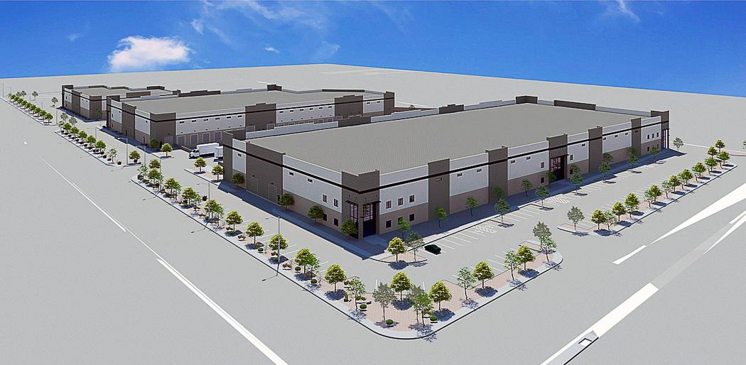 Brass Cap Cos. announced it is developing a three-building industrial project, seen above in this rendering, at Edmond Street and Russell Road in Las Vegas. (MassMedia)