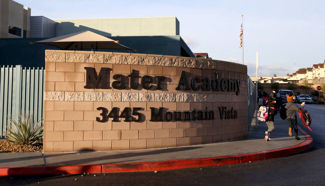 Students arrive at Mater Academy Mountain Vista charter school in Las Vegas Wednesday, Jan. 16, 2019. K.M. Cannon Las Vegas Review-Journal @KMCannonPhoto