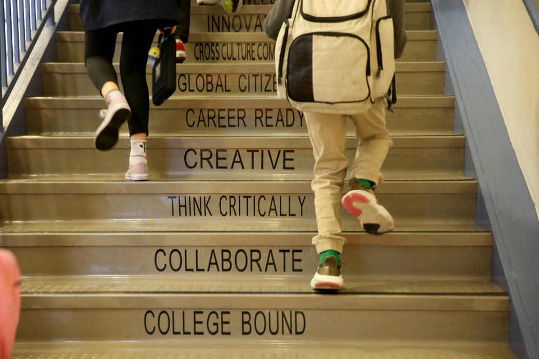 Students arrive at Mater Academy Mountain Vista charter school in Las Vegas Wednesday, Jan. 16, 2019. K.M. Cannon Las Vegas Review-Journal @KMCannonPhoto