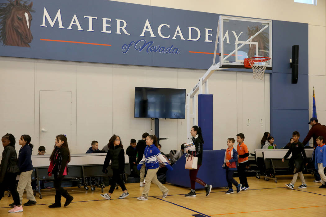 Students line up for breakfast at Mater Academy Mountain Vista charter school in Las Vegas Wednesday, Jan. 16, 2019. K.M. Cannon Las Vegas Review-Journal @KMCannonPhoto