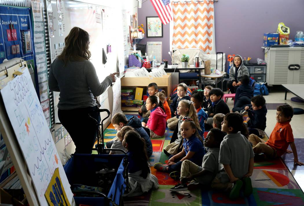 Claudine Minassian Choueiri teaches kindergarten at Mater Academy Mountain Vista charter school in Las Vegas Wednesday, Jan. 16, 2019. K.M. Cannon Las Vegas Review-Journal @KMCannonPhoto