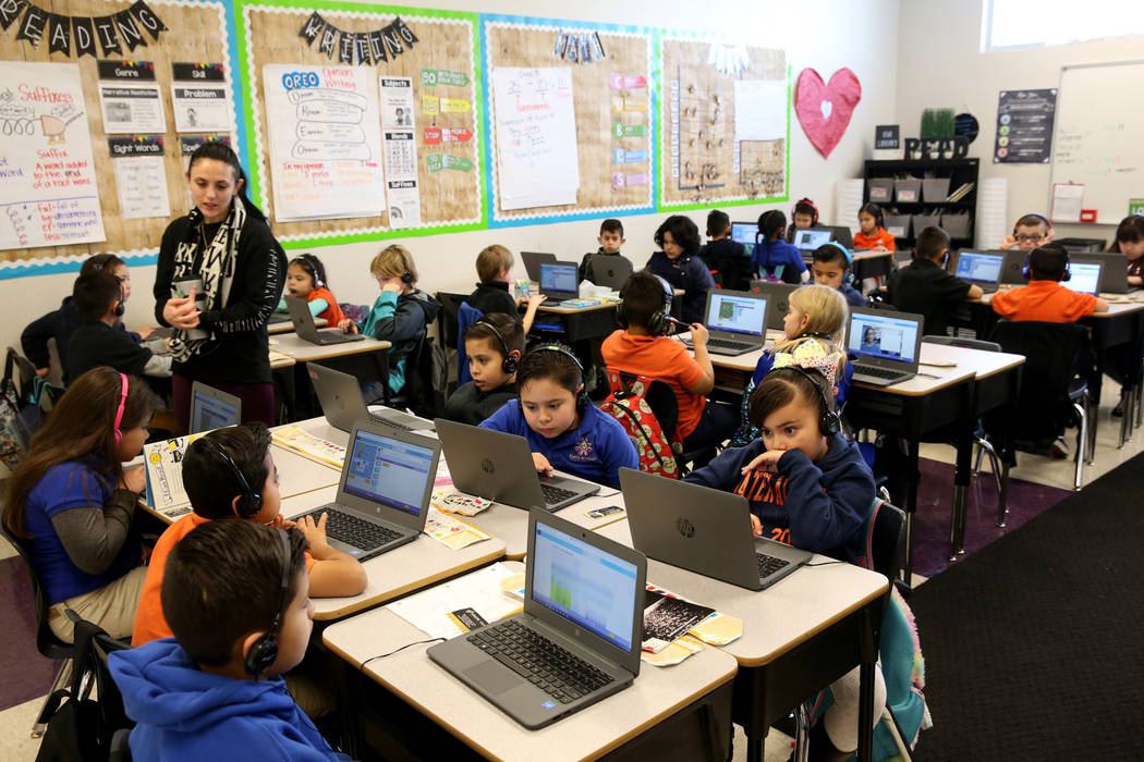Anastasia Jerbic teaches second grade coding class at Mater Academy Mountain Vista charter school in Las Vegas Wednesday, Jan. 16, 2019. K.M. Cannon Las Vegas Review-Journal @KMCannonPhoto