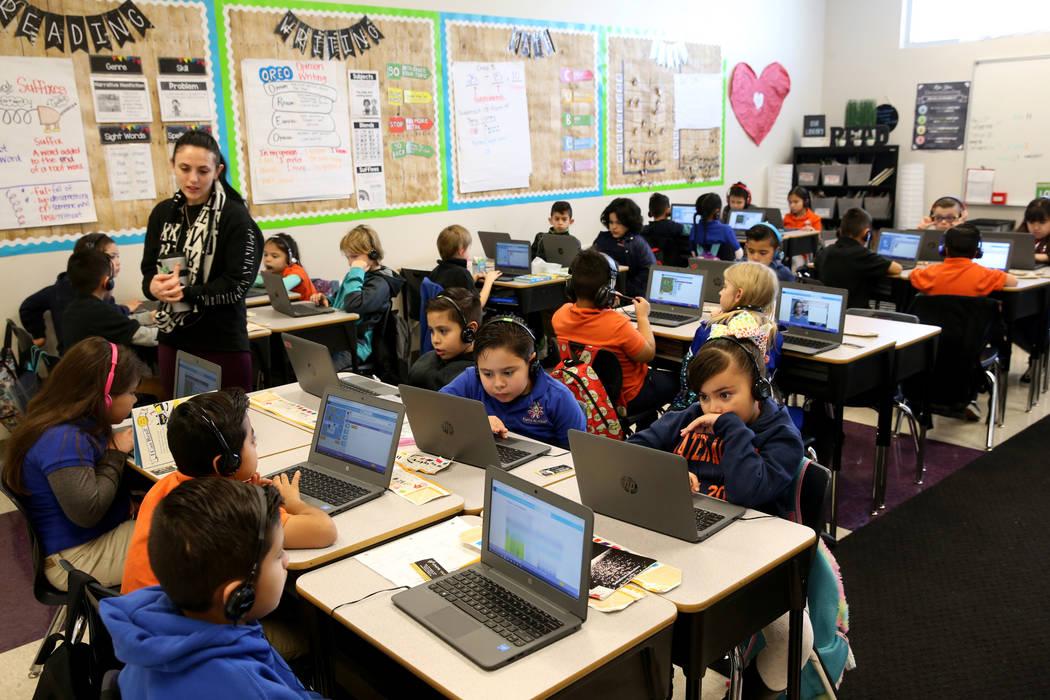 Anastasia Jerbic teaches second grade coding class at Mater Academy Mountain Vista charter school in Las Vegas Wednesday, Jan. 16, 2019. K.M. Cannon Las Vegas Review-Journal @KMCannonPhoto