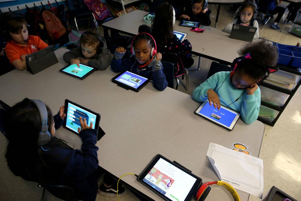 Brittanie Rivoli's kindergarten class at Mater Academy Mountain Vista charter school in Las Vegas Wednesday, Jan. 16, 2019. K.M. Cannon Las Vegas Review-Journal @KMCannonPhoto