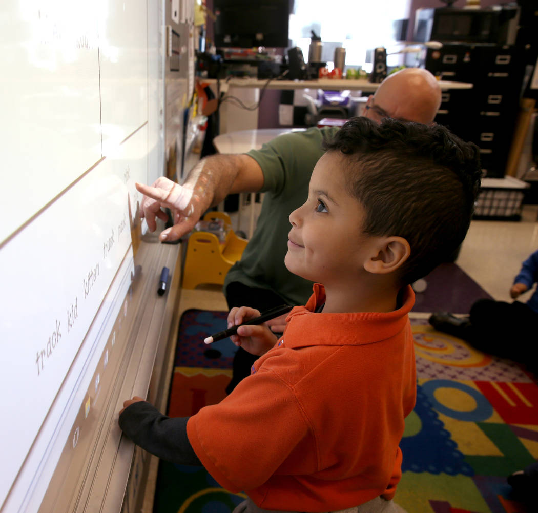 Caleb Rodriguez works in David Lorig's kindergarten class at Mater Academy Mountain Vista charter school in Las Vegas Wednesday, Jan. 16, 2019. K.M. Cannon Las Vegas Review-Journal @KMCannonPhoto