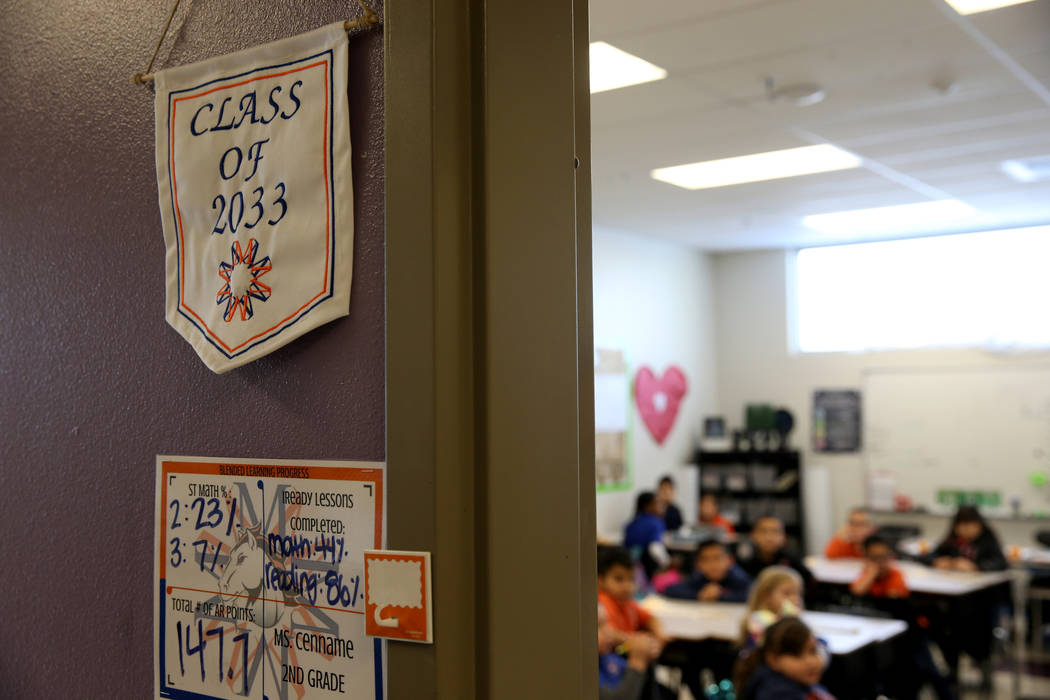 All elementary classrooms have a banner with the college graduating class at Mater Academy Mountain Vista charter school in Las Vegas Wednesday, Jan. 16, 2019. K.M. Cannon Las Vegas Review-Journal ...