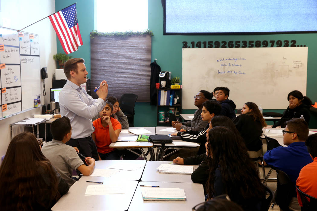 Brendt Ernst teaches middle school math at Mater Academy Mountain Vista charter school in Las Vegas Wednesday, Jan. 16, 2019. K.M. Cannon Las Vegas Review-Journal @KMCannonPhoto