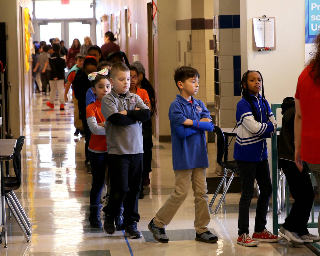 Students during a passing period at Mater Academy Mountain Vista charter school in Las Vegas Wednesday, Jan. 16, 2019. K.M. Cannon Las Vegas Review-Journal @KMCannonPhoto