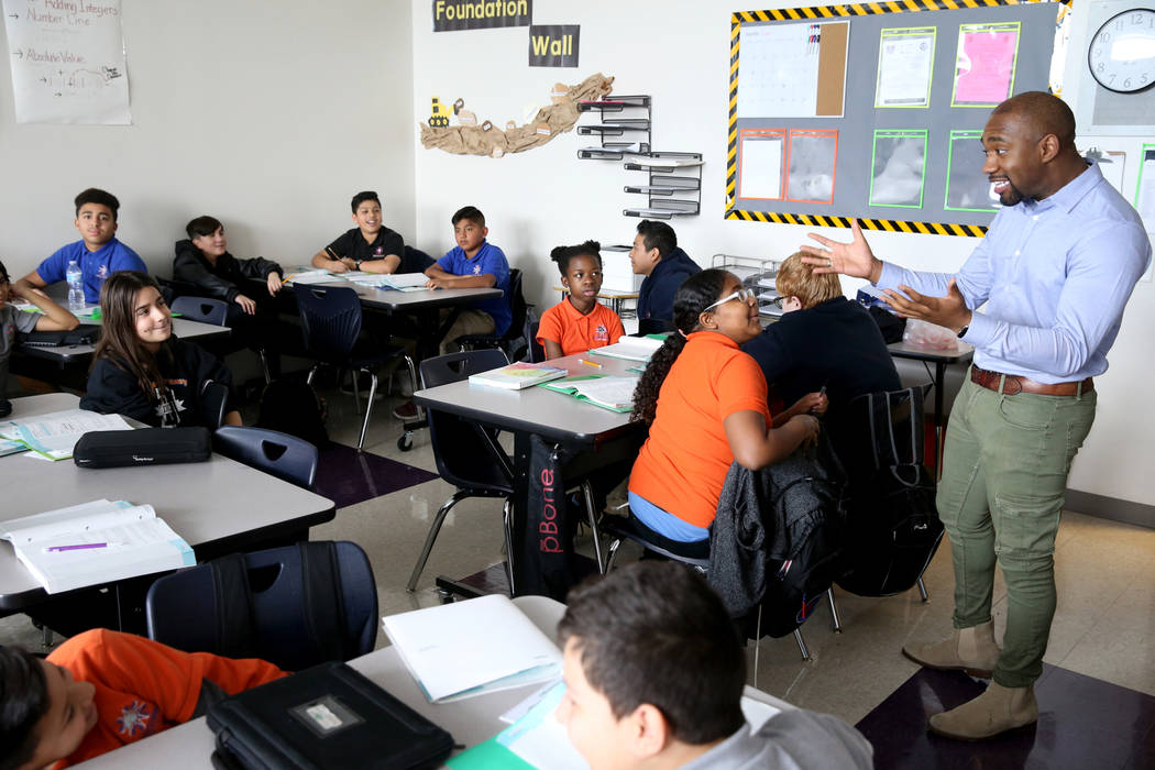 Torrence Whalum teaches seventh grade math at Mater Academy Mountain Vista charter school in Las Vegas Wednesday, Jan. 16, 2019. K.M. Cannon Las Vegas Review-Journal @KMCannonPhoto