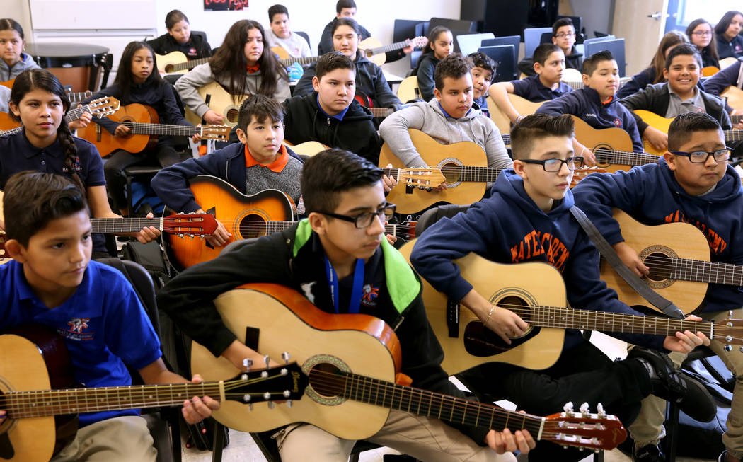 Mariachi class at Mater Academy Mountain Vista charter school in Las Vegas Wednesday, Jan. 16, 2019. K.M. Cannon Las Vegas Review-Journal @KMCannonPhoto