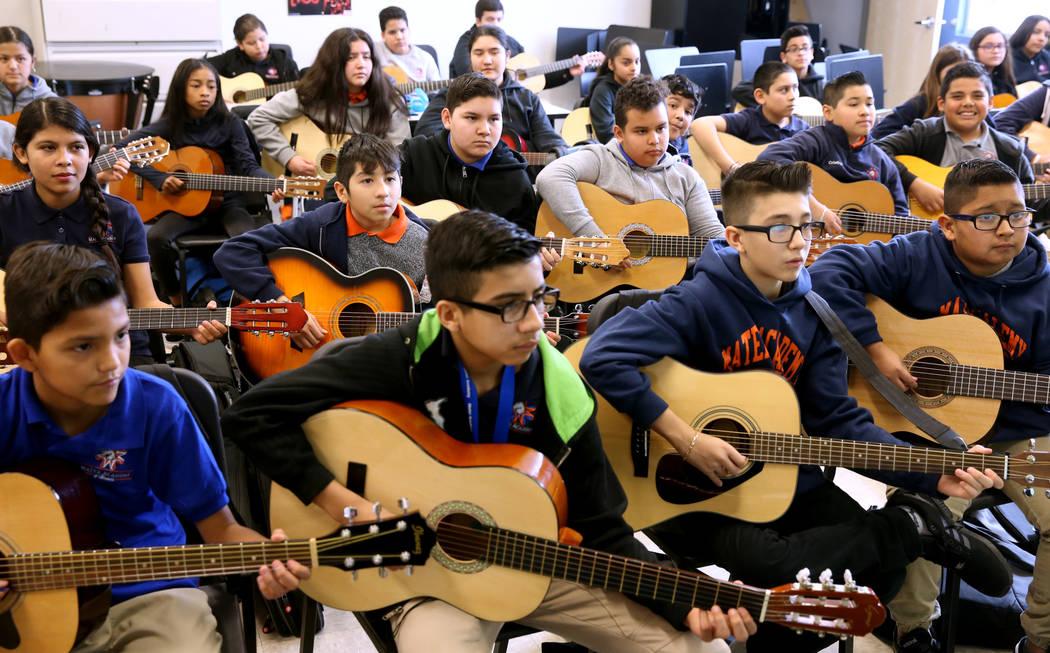 Mariachi class at Mater Academy Mountain Vista charter school in Las Vegas Wednesday, Jan. 16, 2019. K.M. Cannon Las Vegas Review-Journal @KMCannonPhoto