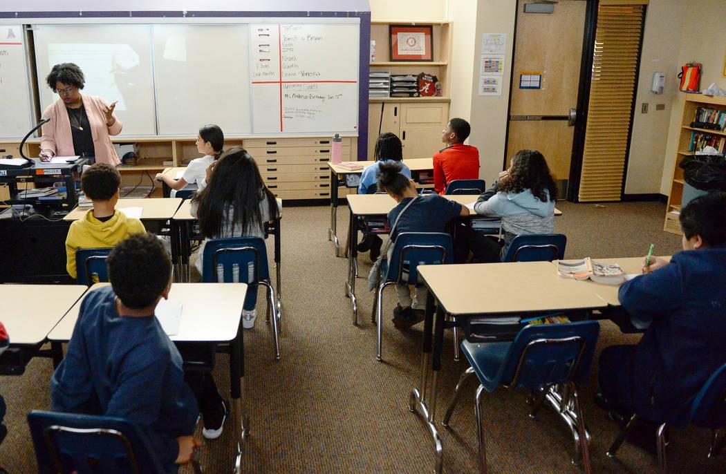 A sixth grade classroom studies math at Democracy Prep in Las Vegas, Tuesday, Jan. 22, 2019. Caroline Brehman/Las Vegas Review-Journal
