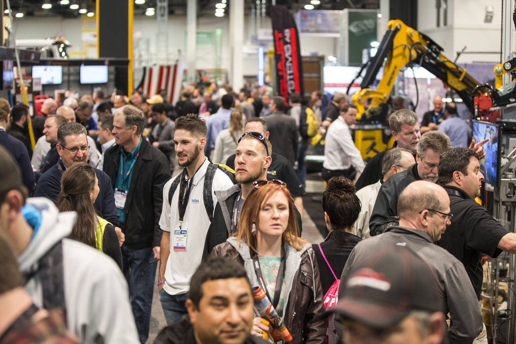 Convention goers pack the North Hall during the first day of the World of Concrete on Tuesday, Jan. 22, 2019, at the Las Vegas Convention Center, in Las Vegas. (Benjamin Hager/Las Vegas Review-Jou ...