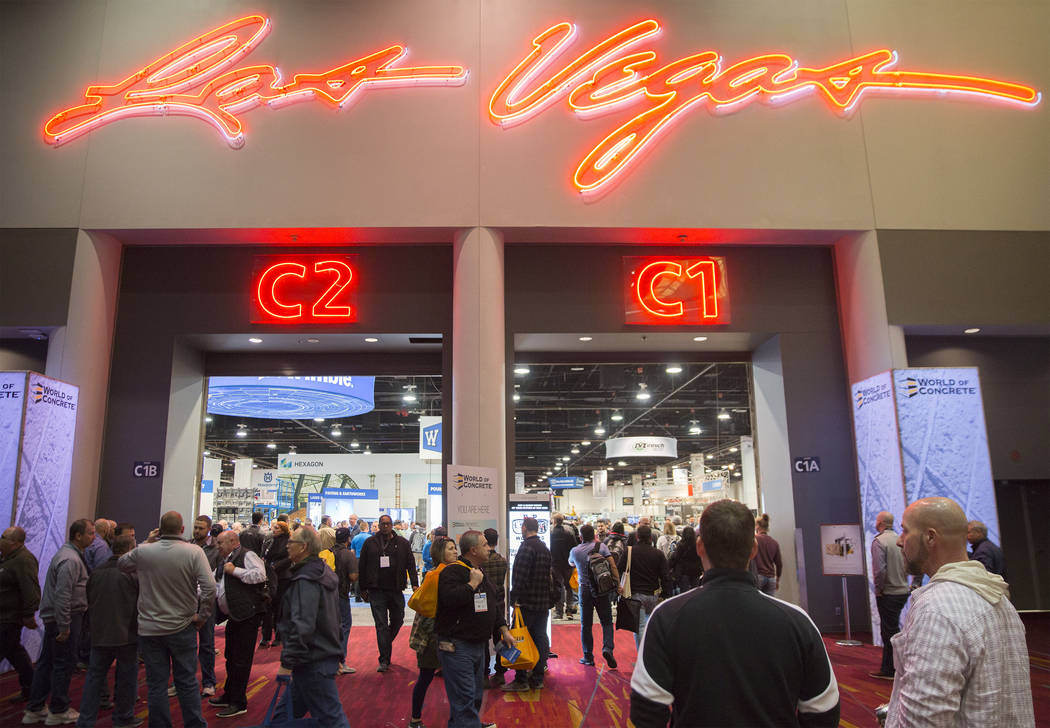 Convention goers move in and out of the Central Hall during the first day of the World of Concrete on Tuesday, Jan. 22, 2019, at the Las Vegas Convention Center, in Las Vegas. (Benjamin Hager/Las ...