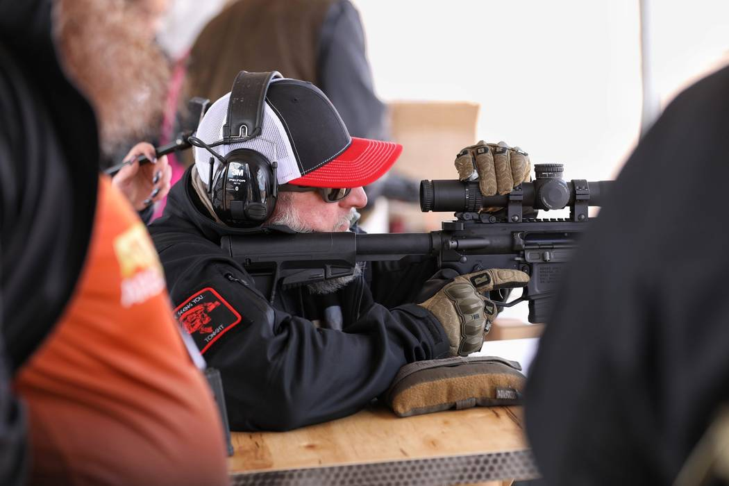 Gun industry insiders try out the latest firearms Monday at Boulder City Rifle and Pistol Club ahead of SHOT show. (Todd Prince/Las Vegas Review-Journal)