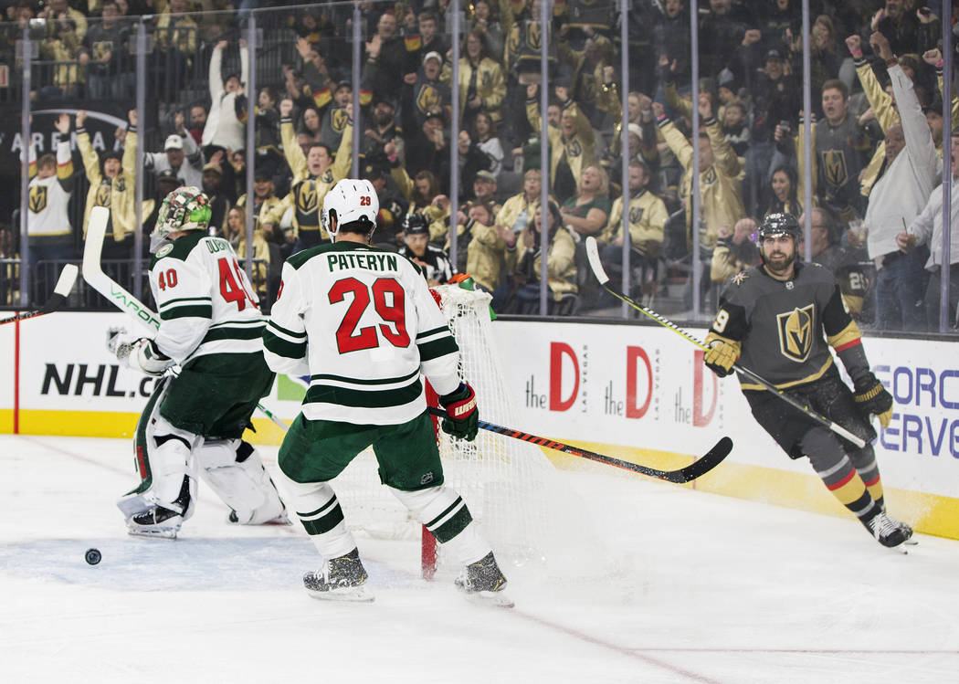Golden Knights right wing Alex Tuch (89) scores a goal against Minnesota Wild goaltender Devan Dubnyk (40) in the first period on Monday, Jan. 21, 2019, at T-Mobile Arena, in Las Vegas. (Benjamin ...
