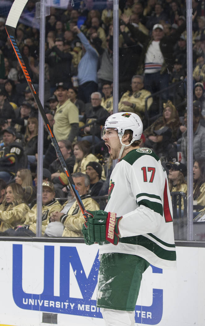 Minnesota Wild left wing Marcus Foligno (17) celebrates after scoring a goal in the second period during their road matchup with the Golden Knights on Monday, Jan. 21, 2019, at T-Mobile Arena, in ...