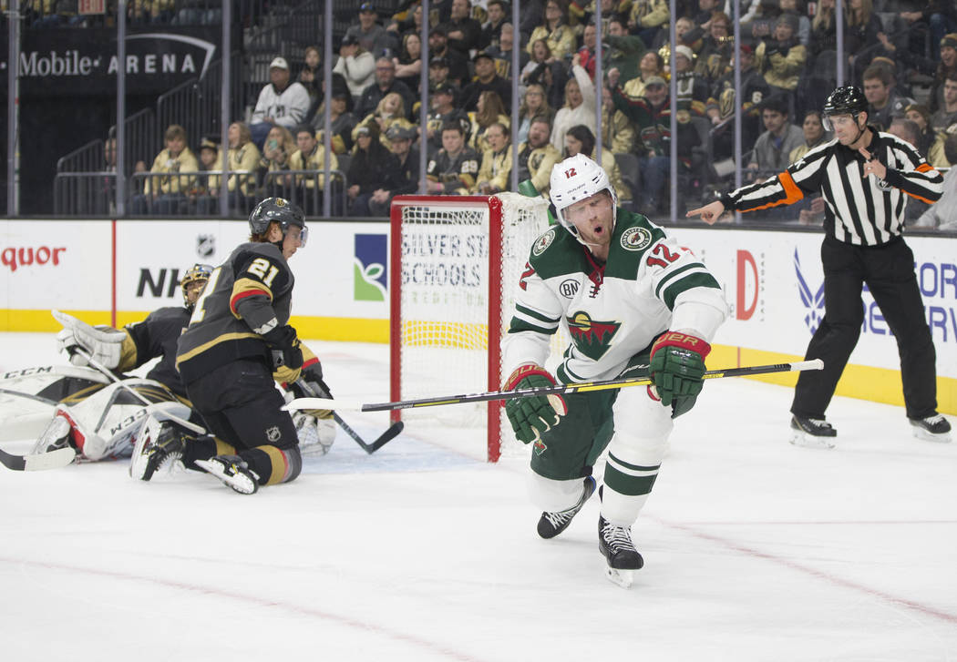Minnesota Wild center Eric Staal (12) scores a goal against Golden Knights goaltender Marc-Andre Fleury (29) in the second period during their road matchup with Vegas on Monday, Jan. 21, 2019, at ...
