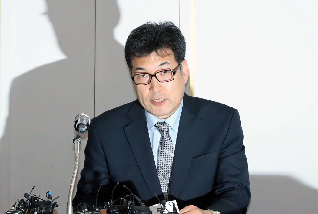 Jeon Myeong-gyu, a former vice chairman of Korea Skating Union, speaks during a news conference in Seoul, South Korea, Monday, Jan. 21, 2019. An athletes' group has raised further allegatio ...