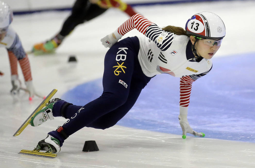In this Nov. 13, 2016, file photo, first place finisher Shim Suk-hee, from South Korea, races during the women's 1,500-meter finals at a World Cup short track speedskating event at the Utah Olympi ...