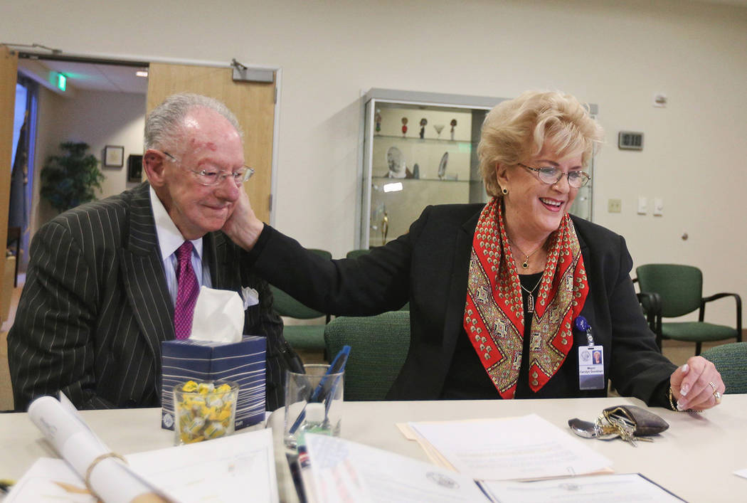 Mayor Carolyn Goodman files for her third term as mayor next to her husband Oscar Goodman at City Hall in Las Vegas, Tuesday, Jan. 22, 2019. Before filing, she announced that she was diagnosed Jan ...