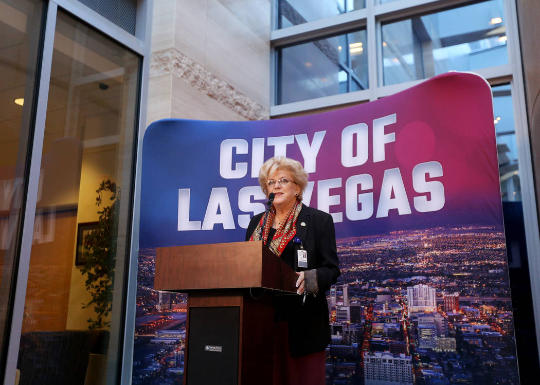 Mayor Carolyn Goodman announces that she has stage 2 breast cancer at a press conference at City Hall in Las Vegas, Tuesday, Jan. 22, 2019. Afterward she filed to run for her third term as mayor. ...