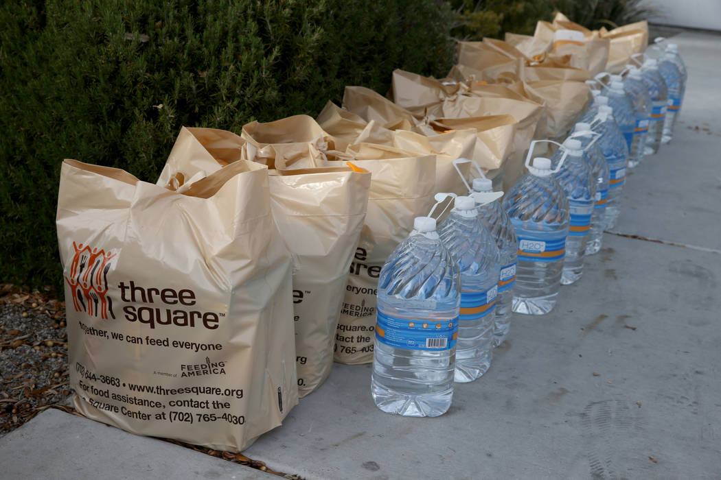 Donated items at Transportation Security Administration administrative offices in Las Vegas Wednesday, Jan. 16, 2019. Local food bank Three-Square supplied over 400 bags of shelf-stable food, hygi ...