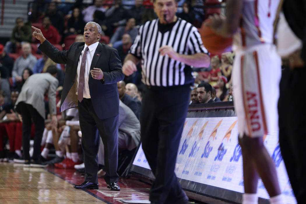 UNLV Rebels head coach Marvin Menzies reacts in the first half of the basketball game against the San Jose State Spartans at the Thomas & Mack Center in Las Vegas, Saturday, Jan. 19, 2019. Eri ...