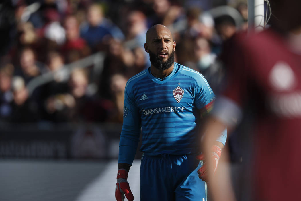Colorado Rapids goalkeeper Tim Howard (1) in the first half of an MLS soccer match Sunday, Oct. 28, 2018, in Commerce City, Colo. (AP Photo/David Zalubowski)